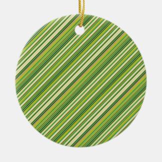 Green Gold White Diagonal Stripe Round Ceramic Ornament