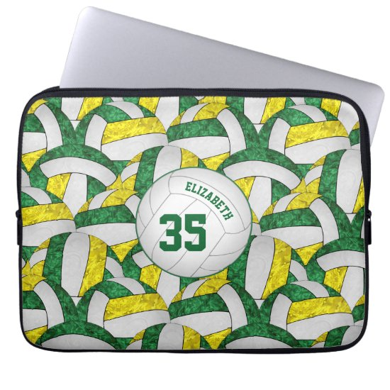 green gold white girls' volleyball team colors computer sleeve