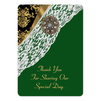 Green gold white lace wedding favor thank you tag large business card