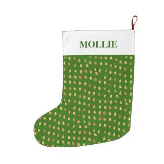 Green Gold White Personalized Christmas Holiday Large Christmas Stocking