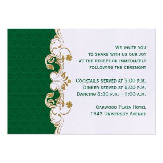 Green, Gold, White Scroll Reception Enclosure Card Large Business Cards (Pack Of 100)