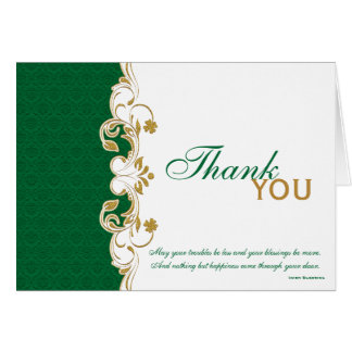 Green, Gold, White Scrolls Thank You Card
