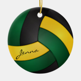 Green, Gold Yellow and Black Volleyball | DIY Name Ceramic Ornament