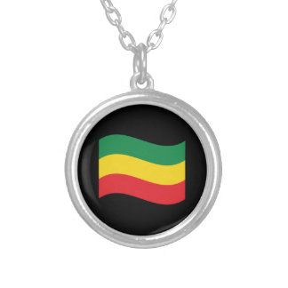 Green, Gold (Yellow) and Red Colors Flag Silver Plated Necklace