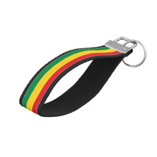 Green, Gold (Yellow) and Red Colors Flag Wrist Keychain