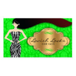 Green Gold Zebra Damask Hair Stylist Salon Double-Sided Standard Business Cards (Pack Of 100)