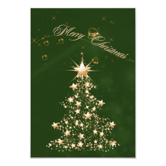 Green Golden Christmas 3.5x5 Paper Invitation Card
