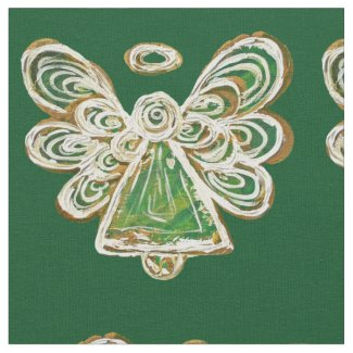 Green Golden Guardian Angel Art Fabric Material