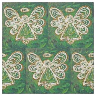 Green Golden Guardian Angel Art Fabric Material