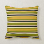[ Thumbnail: Green, Goldenrod, Light Yellow, Black, and Tan Throw Pillow ]