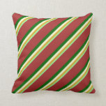 [ Thumbnail: Green, Goldenrod, Light Yellow, Dark Green & Brown Throw Pillow ]