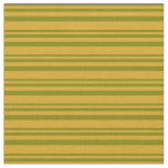 [ Thumbnail: Green & Goldenrod Lined Pattern Fabric ]