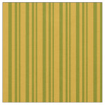[ Thumbnail: Green & Goldenrod Lines/Stripes Pattern Fabric ]