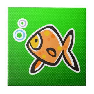 Green Goldfish Ceramic Tile