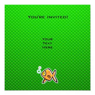 Green Goldfish 5.25x5.25 Square Paper Invitation Card