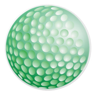 Green Golf Ball Design Ceramic Knob