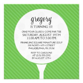 Green Golf Ball Miniature Golf Birthday Party Custom Invite