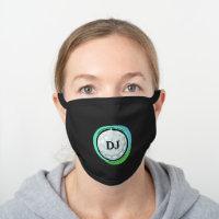 Green Golf Ball Monogram Initials Black Cotton Face Mask