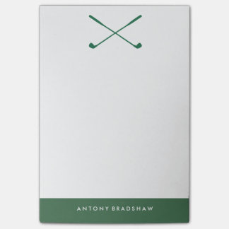 Green Golf Clubs Personalized Post-it Notes