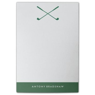 heartlocked Green Golf Clubs Personalized Post-it® Notes