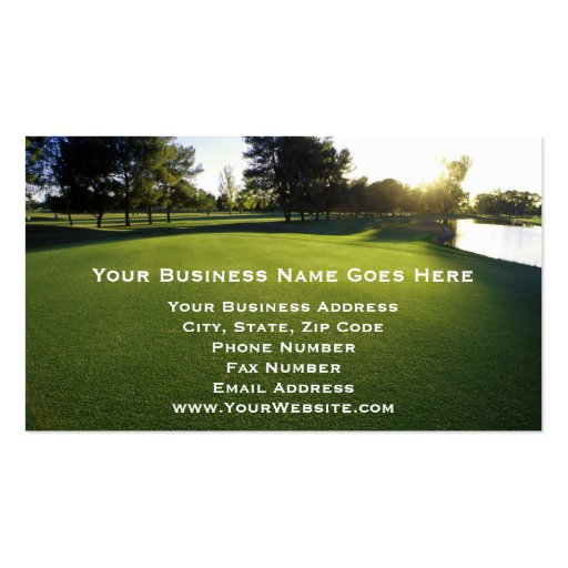 Green Golf Course at Dawn Business Card Template
