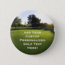 Green Golf Course at Dawn Pinback Button