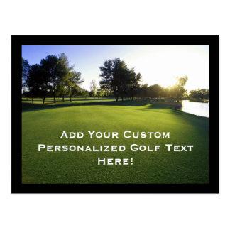 Green Golf Course at Dawn Postcard