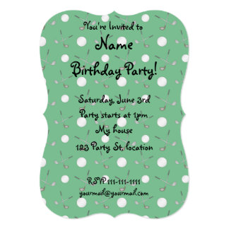 Green golf pattern 5x7 paper invitation card