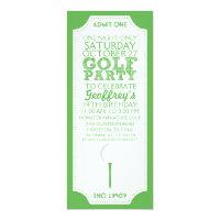 Green Golf Ticket Golf Birthday Party Invitation