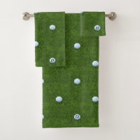 Green Golfing Dad Monogram Golf Ball Towel Set