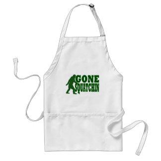 Green gone squatchin slogan text adult apron