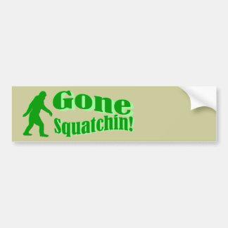 Green gone squatchin slogan text bumper sticker