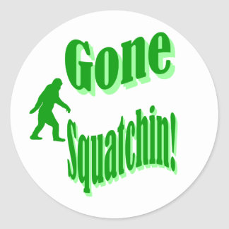 Green gone squatchin slogan text classic round sticker