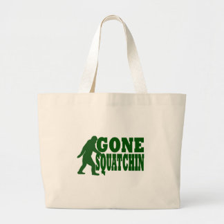 Green gone squatchin slogan text large tote bag