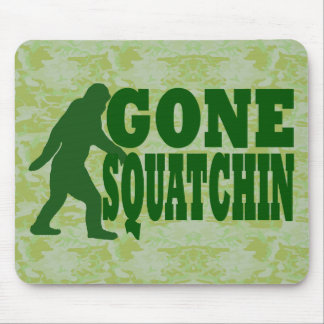 Green gone squatchin slogan text mouse pad