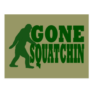Green gone squatchin slogan text postcard