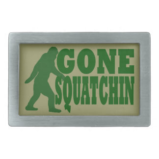 Green gone squatchin slogan text rectangular belt buckle