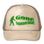 Green gone squatchin slogan text trucker hat