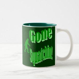 Green gone squatchin slogan text Two-Tone coffee mug