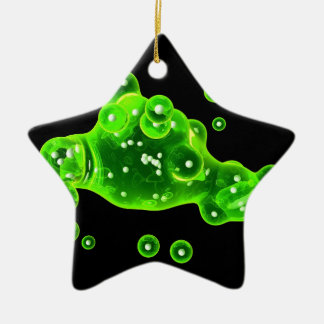 Green Goo particles in space Ceramic Ornament