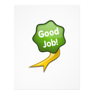 Green Good Job Ribbon Letterhead
