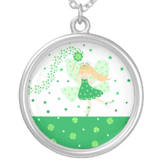 Green Good Luck fairy Round Pendant Necklace