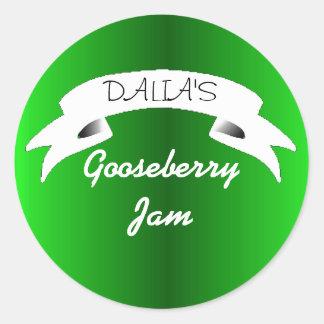 Green gooseberry jam label classic round sticker