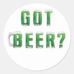 Green Got Beer Classic Round Sticker