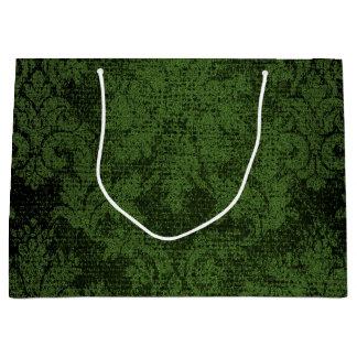 Green Goth Victorian Damask Vintage Wallpaper Large Gift Bag