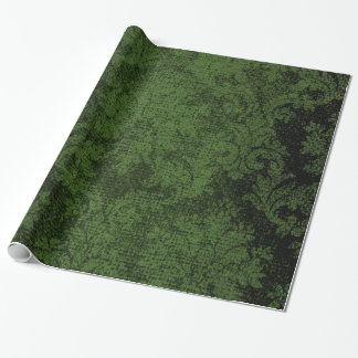 Green Goth Victorian Damask Vintage Wallpaper Wrapping Paper
