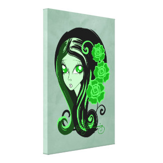 Green Gothic Girl With Roses Canvas Print