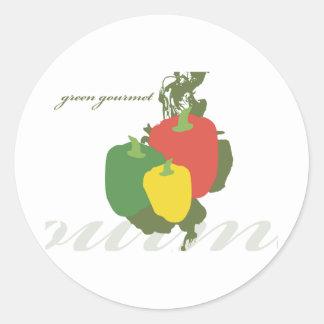 Green Gourmet Bell Pepper Classic Round Sticker