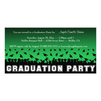 Green Gradient Graduation Party Silhouette Invite Photo Card