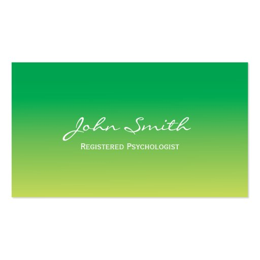 Green Gradient Psychologist Business Card